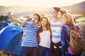 Teens at summer festival Royalty Free Stock Photo