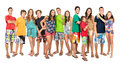 Teens summer large group of teenagers in clothes Royalty Free Stock Photo