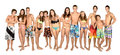 Teens summer large group of teenagers in swim suits Royalty Free Stock Photos