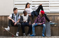 Teens talking in sunny day Royalty Free Stock Photo