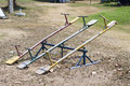Teeter totter wooden in public playground Royalty Free Stock Images