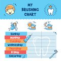 Teeth Brushing Incentive Chart, child dental poster Royalty Free Stock Photo