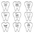 Teeth an illustration of different cartoon characters for kids dentistry Royalty Free Stock Image