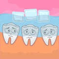 Teeth sensitive with cold vector illustration water ice cube Stock Images