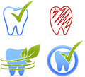 Teeth symbols illustration collection healthy and unhealthy tooth red color Stock Photography