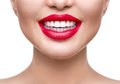 Teeth whitening. Healthy white smile closeup Royalty Free Stock Photo