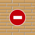 Tegelsten som förbjuder teckentrafikväggen Royaltyfria Foton