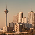 Tehran skyline in the sunset of orange warm glow of Royalty Free Stock Image