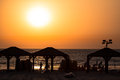 Tel aviv beach sunset israel a over the boardwalk Stock Photography