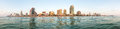 Tel Aviv city panoramic view from Mediterranean Sea. Royalty Free Stock Photo