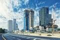 Tel Aviv Cityscape In Daylight, New Skyscraper Under Constractio