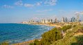 Tel aviv israel march view of the beach riviera and long promenade along skyline from jaffa Royalty Free Stock Images