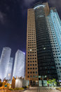 Tel aviv at night high rise buildings Stock Image