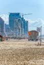 Tel aviv riviera israel march panorama of the beach hotels and long promenade along skyline shot from the beach Stock Images