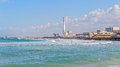 Tel aviv riviera israel march skyline view of the old harbor transformed to the with beaches and long promenade Stock Image