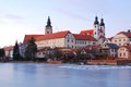 Telc historic chateau church towers sunset light Stock Photos