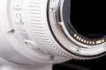 Tele photo lens close up of rear view without cap on black background Royalty Free Stock Photography