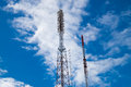 Tele radio tower with sky background Royalty Free Stock Images