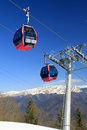 Telecabin in the mountains cable car mountain scenery winter with blue sky Royalty Free Stock Image