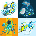 Telecom Isometric 2x2 Design Concept Royalty Free Stock Photo
