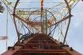 Telecom pole tower and blue sky Stock Photos