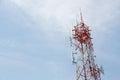 Telecom pole tower and blue sky Stock Photography