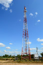 Telecom tower and blue sky background Stock Photo