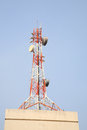 Telecom tower on top of building Royalty Free Stock Photo