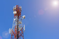 Telecommunication, Cellular or Radio antenna tower in blue sky. Royalty Free Stock Photo