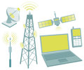 Telecommunication equipment icon set objects and Stock Images