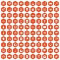 100 telecommunication icons hexagon orange