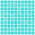 100 telecommunication icons set grunge blue Royalty Free Stock Photo