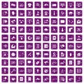 100 telecommunication icons set grunge purple Royalty Free Stock Photo