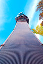 Telecommunication and lookout tower in a colorful fall forest Royalty Free Stock Photos