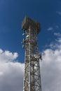 Telecommunication mast TV antennas wireless technology with blue sky Royalty Free Stock Photo