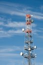 Telecommunication radion antenna satelite tower blue sky Stock Photography