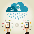 Telecommunication rain on communication a vector illustration Stock Photos