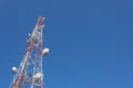 Telecommunication tower mast TV and radio antenna Royalty Free Stock Photo