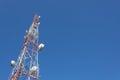 Telecommunication tower mast TV and radio antenna Royalty Free Stock Photo