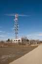 Telecommunication tower radion antenna and satelite with blue sky Royalty Free Stock Photos