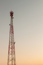 Telecommunication tower during a sunset Royalty Free Stock Photos