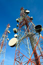 Telecommunication towers with blue sky Stock Photography
