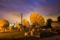 Telecommunication WIFI wireless Satelites Antenna Dish timelapse Majorca Observatory Royalty Free Stock Photo