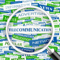 Telecommunication word cloud illustration tag cloud concept collage Royalty Free Stock Photos