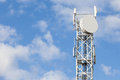 Telecommunications antenna tower for radio, television and telep Royalty Free Stock Photo