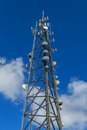 Telecommunications cell tower a large modern Royalty Free Stock Images