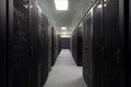 Telecommunications equipment in the black racks Royalty Free Stock Photo