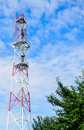 Telecommunications pole with relays and equipment Royalty Free Stock Photography