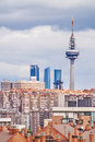Telecommunications tower in madrid august skyline of with torre españa was built has meters by emilio fernandez architects has Royalty Free Stock Photos