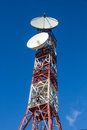 Telecommunications tower or metal with satellite dishes transmit and receive Royalty Free Stock Photography